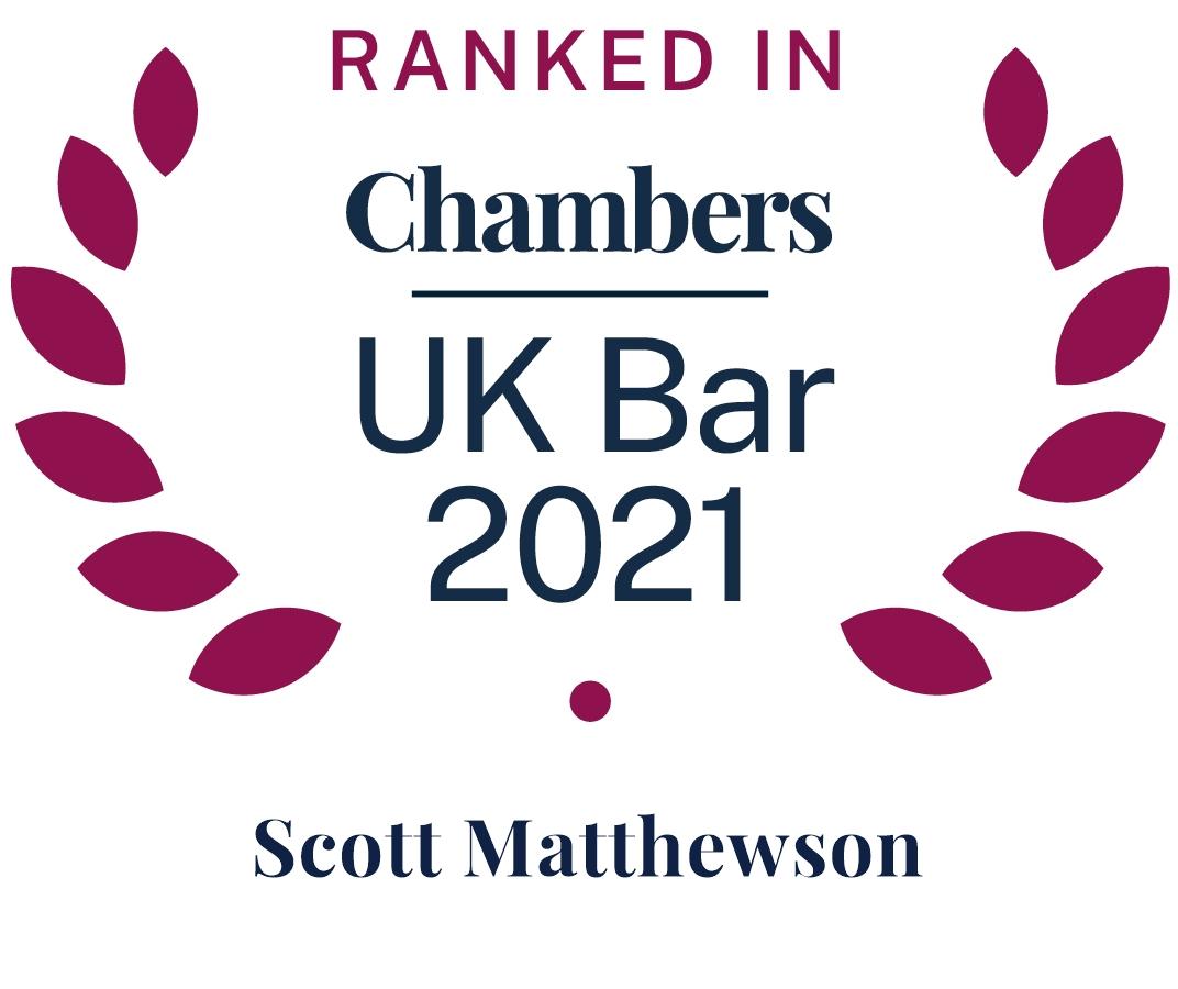Ranked in UK Bar Chambers 2021